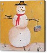 Snow Man And Bird House Acrylic Print