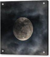 Snow Moon On A Cloudy Night Acrylic Print