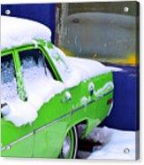 Snow On Car Acrylic Print