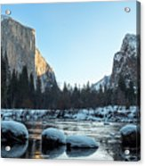 Snow On Large Rocks With El Capitan In The Background Acrylic Print