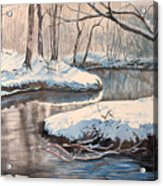 Snow On Riverbank Acrylic Print