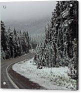 Snow On Road Through Forest Acrylic Print by Linda Phelps