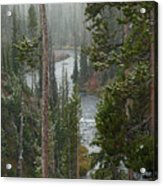 Snow On The Yellowstone River Acrylic Print