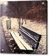 Snow Park Bench Acrylic Print
