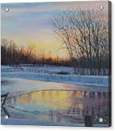 Snow Scene At Sunset Acrylic Print