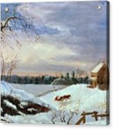 Snow Scene In New England Acrylic Print by American School