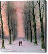 Snow Scene Wanstead Park   Acrylic Print by Nils Hans Christiansen