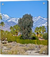 Snow-topped Mountains From Tahquitz Canyon Way In Palm Springs-california  Acrylic Print