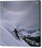 Snowboarding Down A Peak In Yosemite Acrylic Print