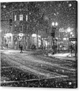 Snowfall In Harvard Square Cambridge Ma 2 Black And White Acrylic Print