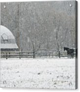 Snowing At The Round Barn Acrylic Print