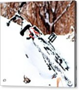 Snowing On The Bicycle Acrylic Print