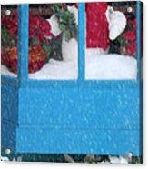 Snowman And Poinsettias - Frosty Christmas Acrylic Print