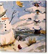 Snowman Hug Acrylic Print