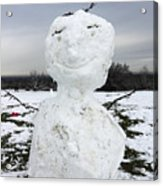 Snowman On Epsom Downs Surrey Uk Acrylic Print