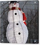 Snowman On The Roof Acrylic Print