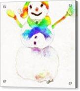 Snowman With Rainbow 1 Acrylic Print