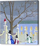 Snowmen In Vermont Acrylic Print by Thomas Griffin