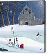 Snowmen On Hockey Pond Acrylic Print