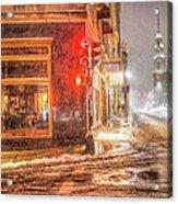 Snowstorm On Tremont Street Boston Ma Park Street Church Acrylic Print