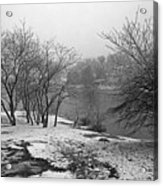 Snowy Day On Redd's Pond And Old Burial Hill Acrylic Print