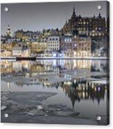 Snowy, Dreamy Reflection In Stockholm Acrylic Print