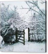 Snowy Garden Gate Three Acrylic Print