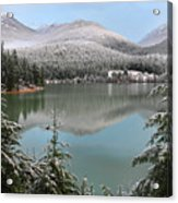 Snowy Green Lake Sunset Whistler B.c Canada Acrylic Print