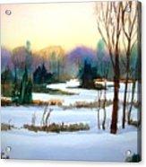 Snowy Landscape Scene Acrylic Print