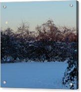 Snowy Moonset Acrylic Print