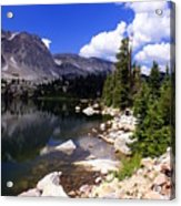 Snowy Mountain Lake Acrylic Print