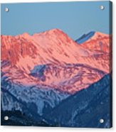 Snowy Mountain Range With A Rosy Hue At Sunset Acrylic Print
