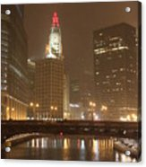 Snowy Night In Chicago Acrylic Print