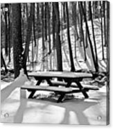 Snowy Picnic Table In Black And White Acrylic Print