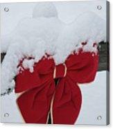 Snowy Red Bow Acrylic Print