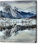 Snowy Reflections In Medicine Lake Acrylic Print