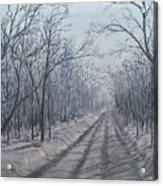 Snowy Road At Dawn  Acrylic Print