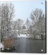 Snowy Scenery Round Canals Acrylic Print