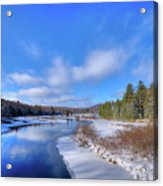 Snowy Shore Of The Moose River Acrylic Print