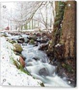 Snowy Stream Landscape Acrylic Print
