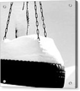 Snowy Tire Swing Black And White Acrylic Print