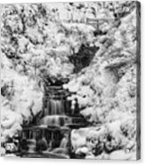 Snowy Waterfall In The Peak District In Derbyshire Acrylic Print