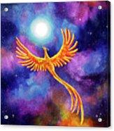 Soaring Firebird In A Cosmic Sky Acrylic Print
