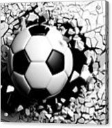 Soccer Ball Breaking Forcibly Through A White Wall. 3d Illustration. Acrylic Print