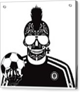 Soccer Skull Icon Background With Sunglasses And Ball. Acrylic Print