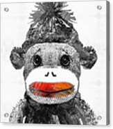 Sock Monkey Art In Black White And Red - By Sharon Cummings Acrylic Print