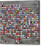 Soda Pop Bottle Cap Map Of The United States Of America Acrylic Print