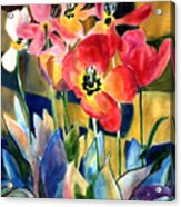 Soft Quilted Tulips Acrylic Print