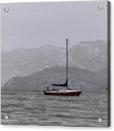 Soft Sailboat Stormy Lake Acrylic Print