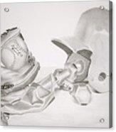 Softball Acrylic Print by Leslie Ann Hammer